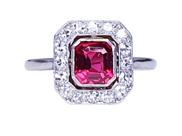 Art deco red spinel and diamond engagement ring set in platinum  DBGEMS - image 6