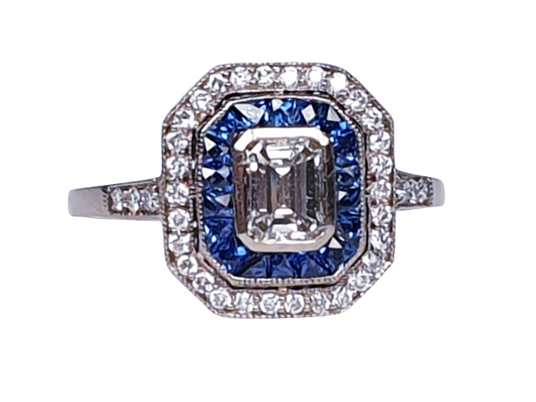 French Sapphire and Diamond Engagement Ring  DBGEMS - image 7