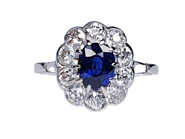 Art deco sapphire and diamond engagement ring  DBGEMS - image 6
