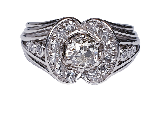 1940's Diamond Cluster Ring  DBGEMS - image 6