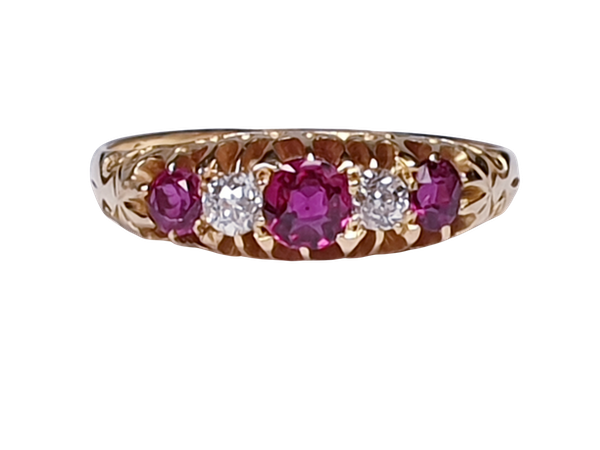 Antique ruby and diamond five stone ring  DBGEMS - image 7