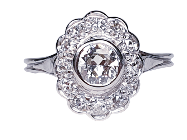 French Oval Diamond Cluster Engagement Ring  DBGEMS - image 6