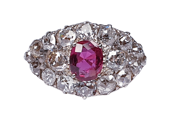 Antique ruby and old cut diamond engagement ring  DBGEMS - image 5