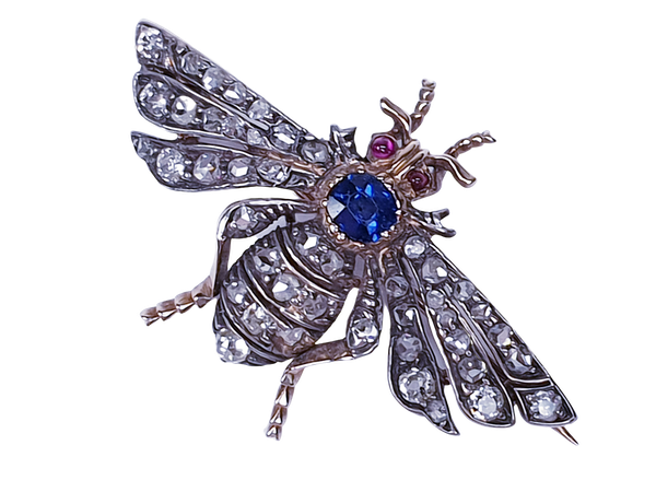 Antique sapphire and diamond bug brooch  DBGEMS - image 3