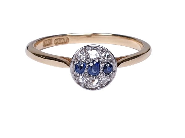 Edwardian Sapphire and Diamond Ring - image 5