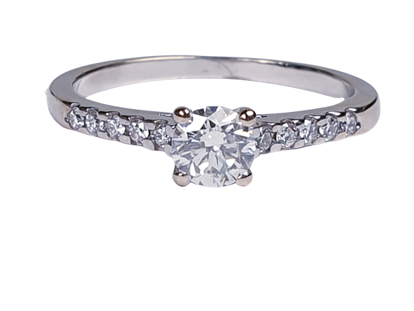 Diamond Solitaire Engagement Ring with Diamond Shoulders  DBGEMS - image 4
