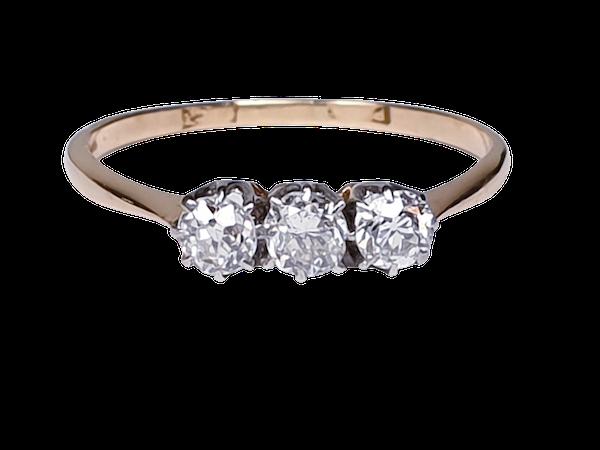 Antique Diamond Three Stone Engagement Ring  DBGEMS - image 5