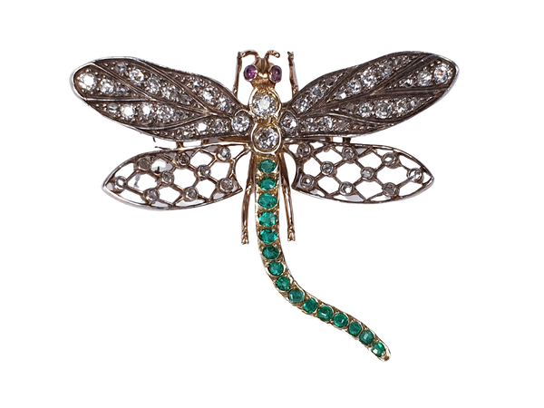 Antique Diamond and Emerald Dragonfly Brooch  DBGEMS - image 1