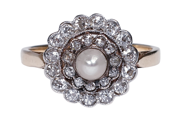 Edwardian Pearl and Diamond Target Ring 1355 DBGEMS - image 6