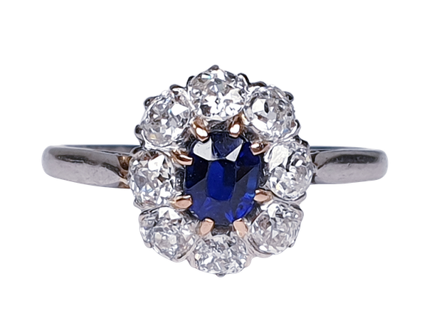 Old Cut Sapphire and Diamond Cluster Engagement Ring  DBGEMS - image 5
