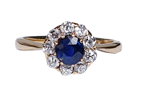 Antique Sapphire and Diamond Cluster Engagement Ring  DBGEMS - image 6