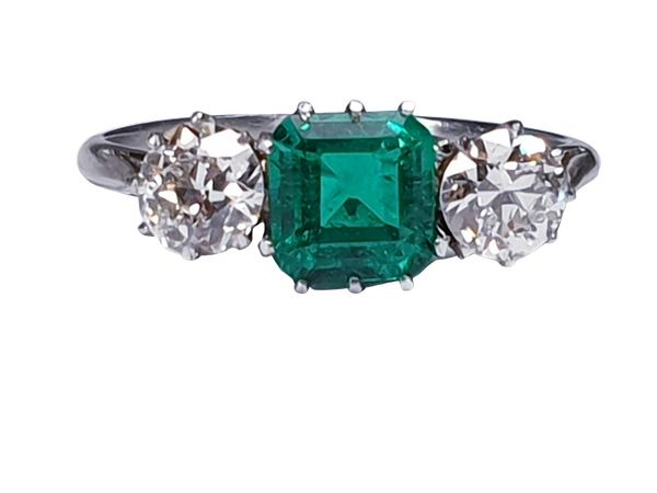 Emerald and diamond engagement ring  DBGEMS - image 5