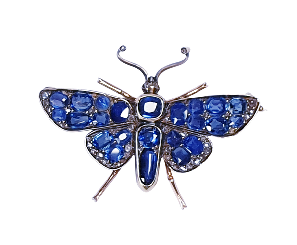 Victorian Sapphire and Diamond Butterfly Brooch  DBGEMS - image 4