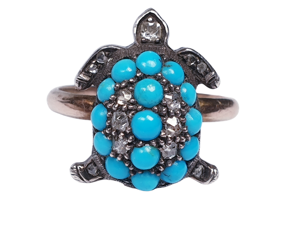 Antique turquoise and diamond turtle ring  DBGEMS - image 5