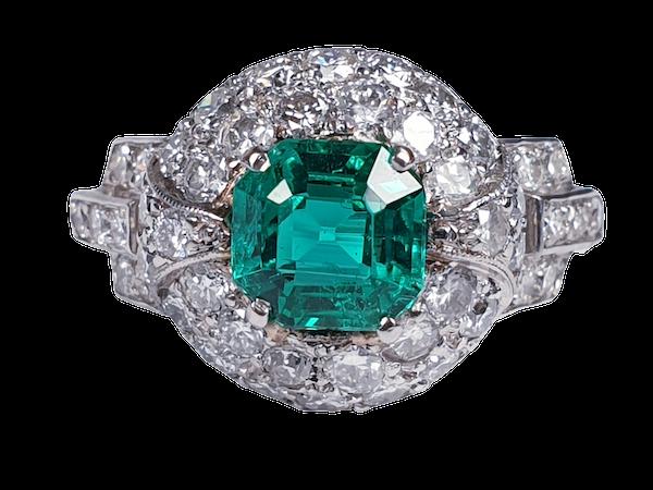 Art deco Columbian emerald engagement ring  DBGEMS - image 6