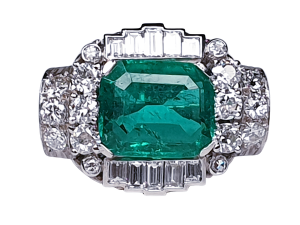 emerald and diamond 1940's cocktail ring  DBGEMS - image 6