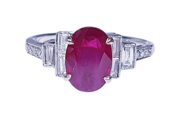 Ruby and Baguette Diamond Ring  DBGEMS - image 5