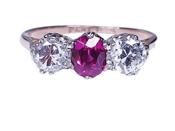 19th century gem quality ruby and diamond three stone engagement ring  DBGEMS - image 5