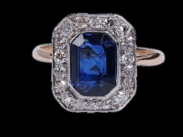 Edwardian sapphire and diamond engagement ring  DBGEMS - image 6