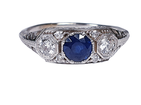 Art Deco Sapphire and Diamond Engagement Ring  DBGEMS - image 5