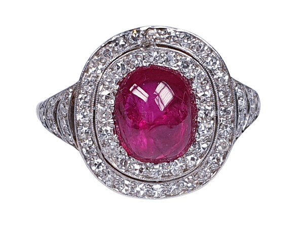 Natural cabochon ruby and diamond art deco target engagement ring  DBGEMS - image 5
