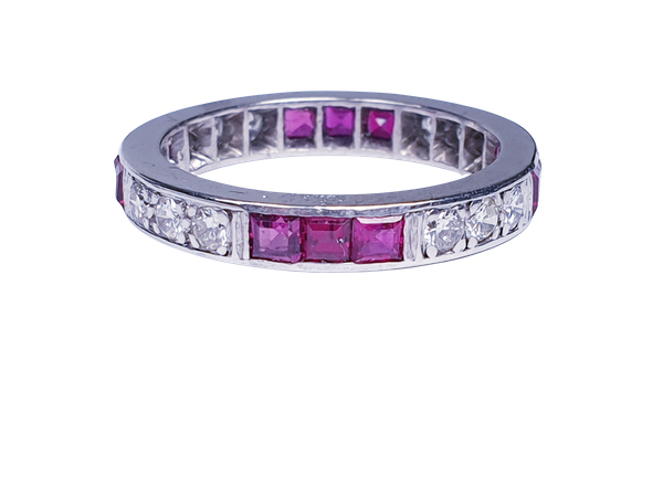 art deco ruby and diamond eternity ring  DBGEMS - image 3