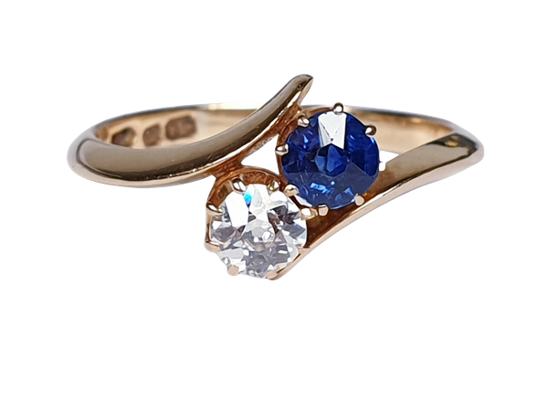 Victorian Sapphire and Diamond Cross Over Ring  DBGEMS - image 6