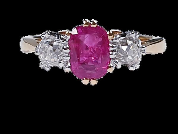 Burmese Ruby and Old Mine Cut Diamond Three Stone Ring  DBGEMS - image 5