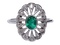 Art Deco Emerald and Diamond Cluster Ring  DBGEMS - image 6