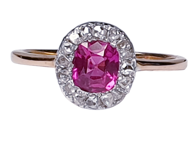 Pink sapphire and rose cut diamond cluster ring DBGEMS - image 5
