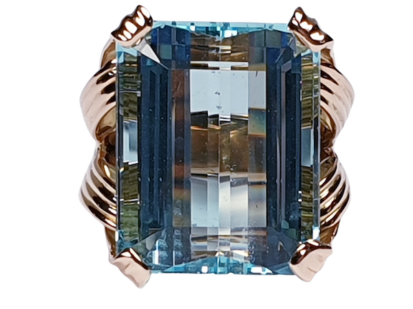 French 1960's chic Aquamarine dress ring  DBGEMS - image 5