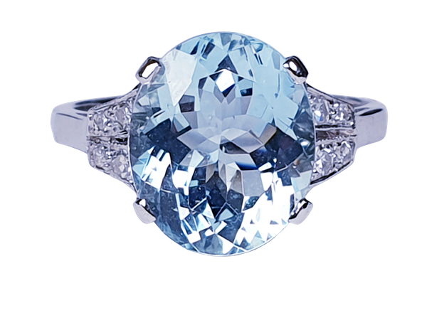 Oval aquamarine and diamond dress ring  DBGEMS - image 1