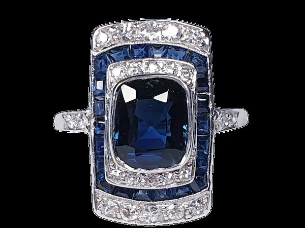 Art Deco Sapphire and Diamond Panel Ring  DBGEMS - image 5