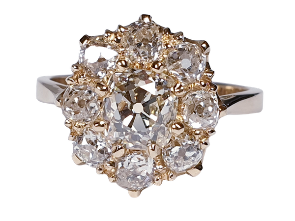 Antique old cut diamond cluster engagement ring  DBGEMS - image 5