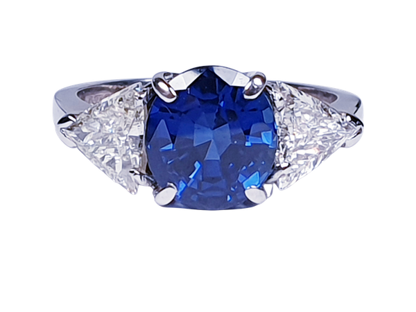 Sapphire and trillion cut diamond engagement ring  DBGEMS - image 5