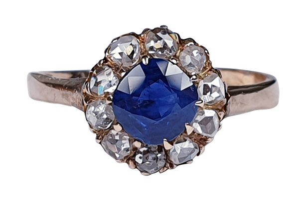 Victorian Sapphire and Rose Diamond Engagement Ring  DBGEMS - image 5