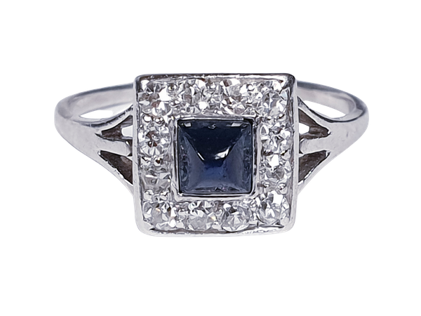 Art Deco Sugar Loaf Sapphire and Diamond Engagement Ring  DBGEMS - image 6