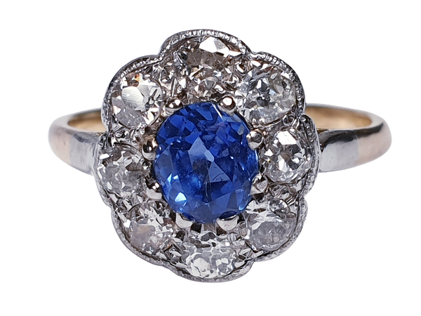 Ceylon sapphire and diamond cluster engagement ring  DBGEMS - image 6