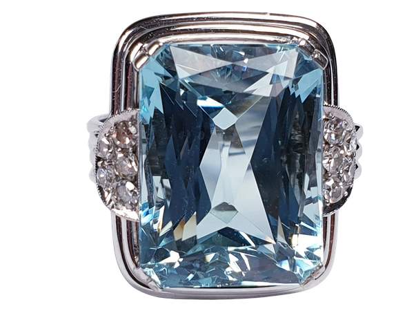 Art deco aquamarine and diamond dress ring  DBGEMS - image 5