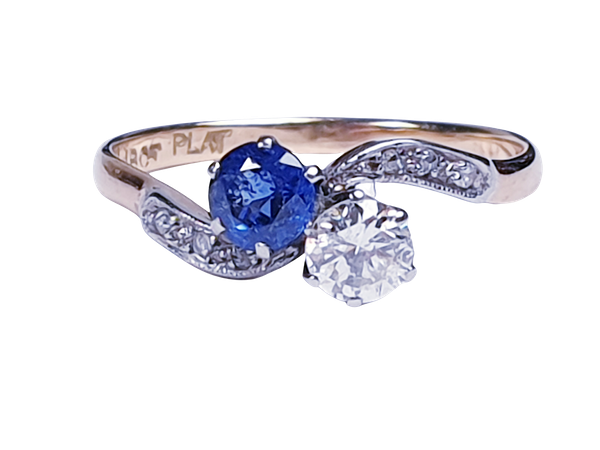 Edwardian Sapphire and Diamond Cross Over Ring  DBGEMS - image 4