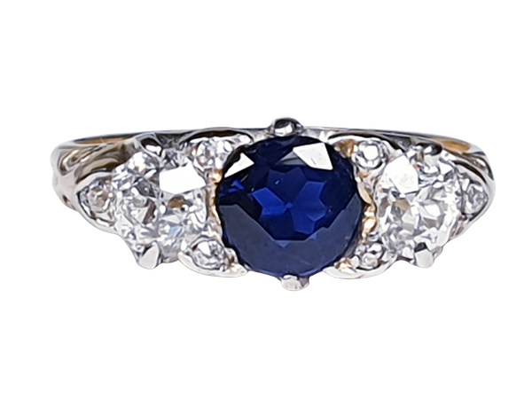 Victorian Sapphire and Diamond Carved Half Hoop Ring  DBGEMS - image 5