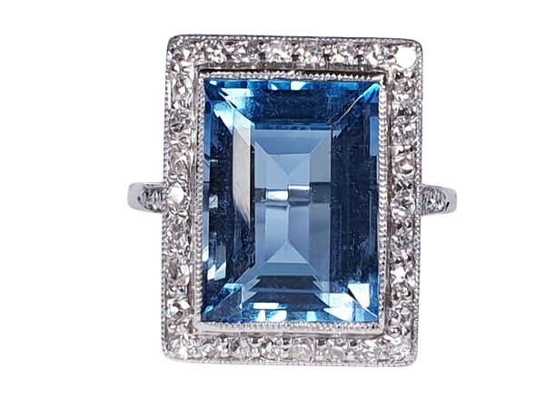 Santa Maria Aquamarine and Diamond Art Deco Ring  DBGEMS - image 6