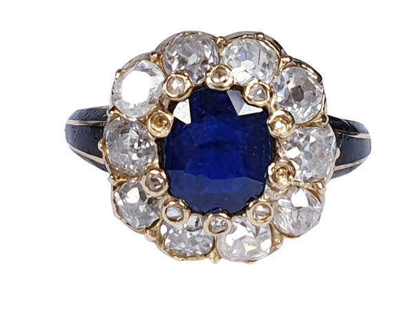 Antique Sapphire and Diamond Cluster Ring 3829  DBGEMS - image 5