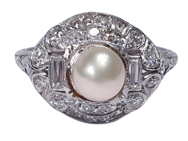 Art Deco Pearl and Diamond Ring  DBGEMS - image 5