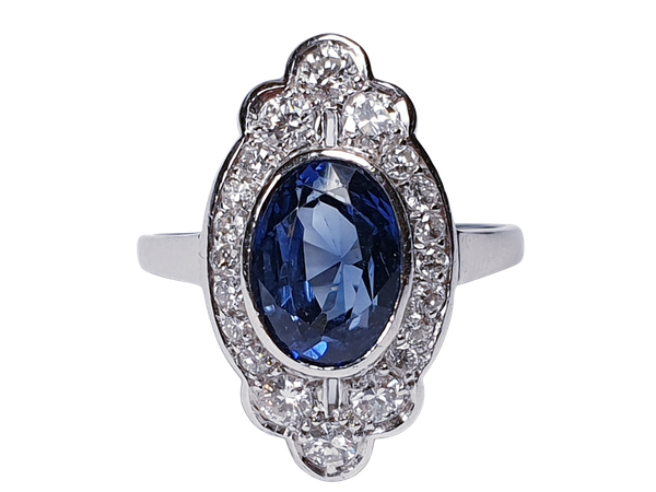 Art Deco Sapphire and Diamond Lozenge Ring  DBGEMS - image 3