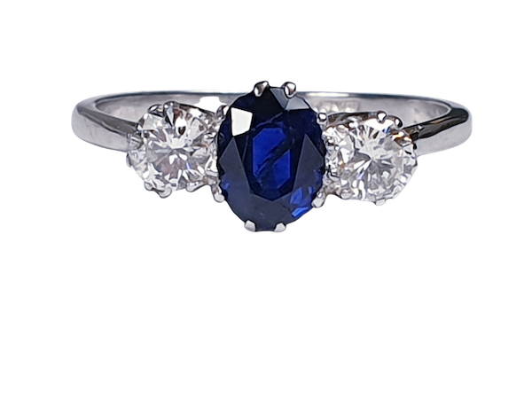 Art Deco Sapphire and Diamond Three Stone Ring  DBGEMS - image 5