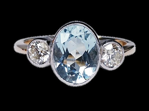Aquamarine and diamond three stone ring  DBGEMS - image 5