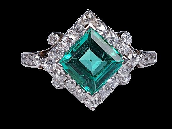 Terrific Edwardian Emerald and Diamond Ring  DBGEMS - image 5