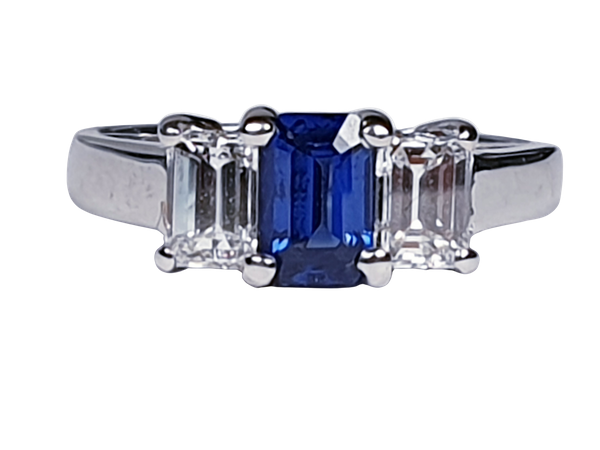 Sapphire and diamond emerald cut engagement ring  DBGEMS - image 4