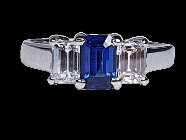 Sapphire and diamond emerald cut engagement ring  DBGEMS - image 4